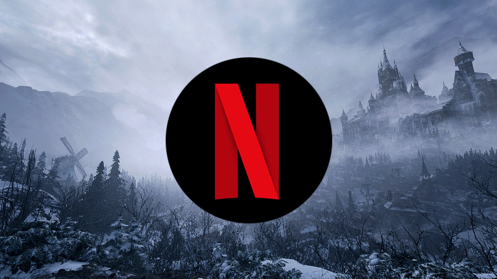 Netflix logo in front of Resident Evil background