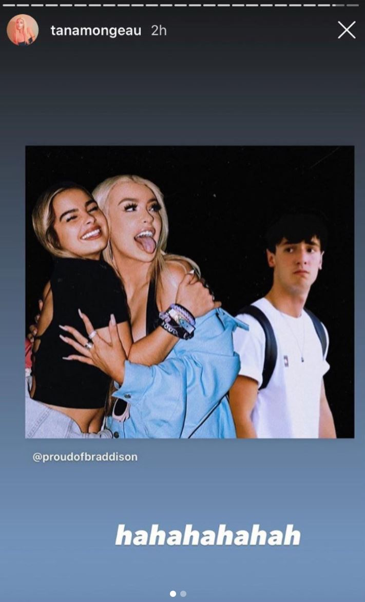 A meme showing Addison Rae and Tana Mongeau hugging while Bryce Hall looks on wistfully.