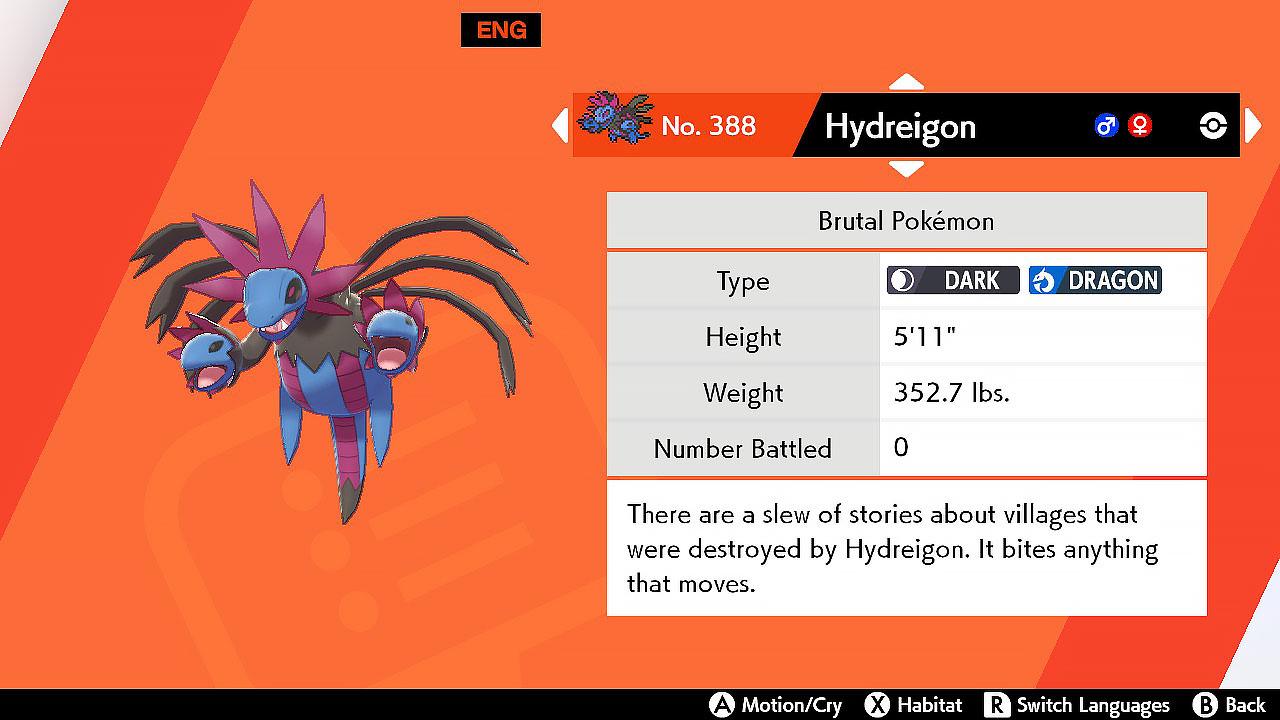 Hydreigon pokemon sword shield