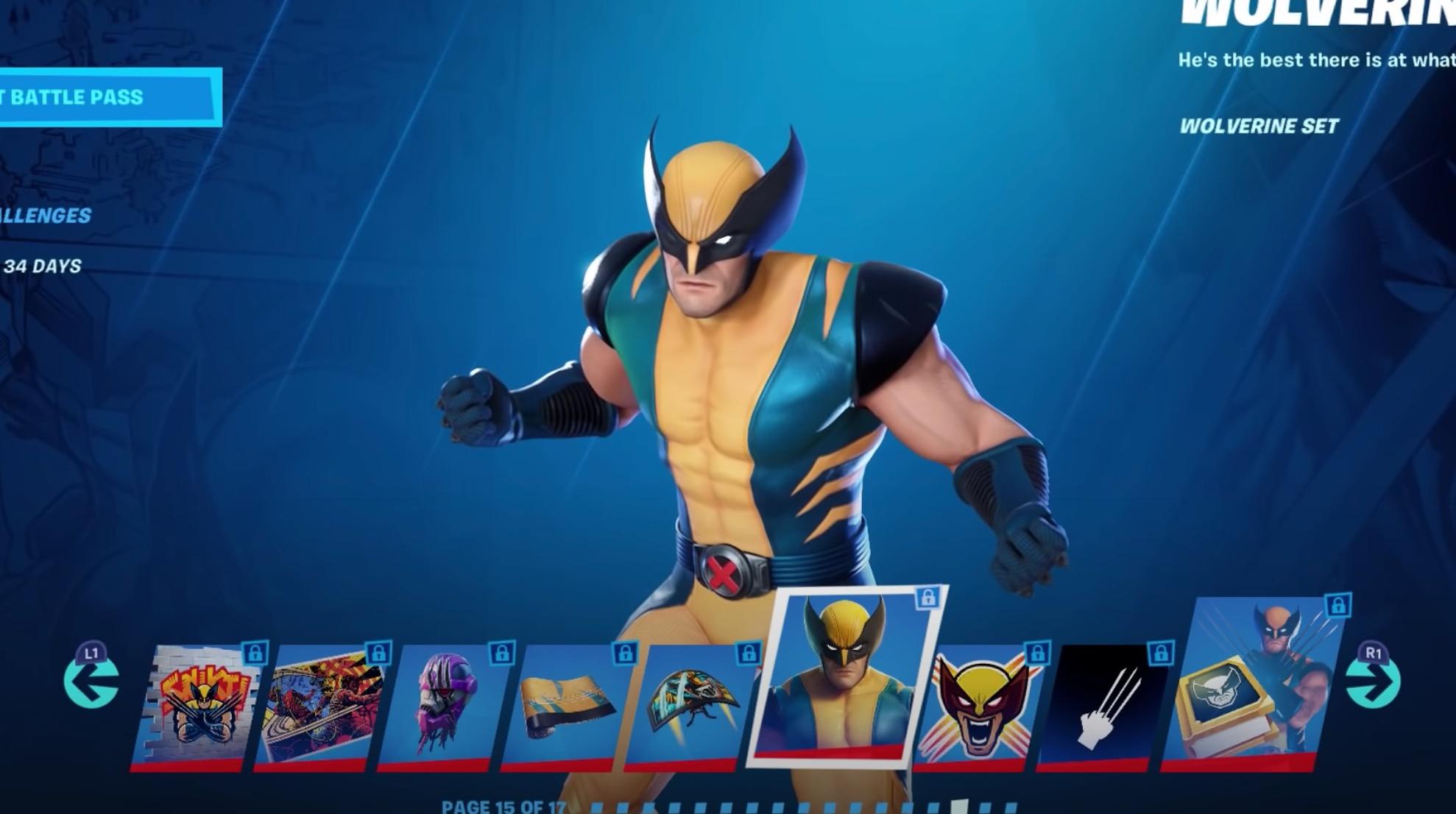 Wolverine cosmetics in Fortnite
