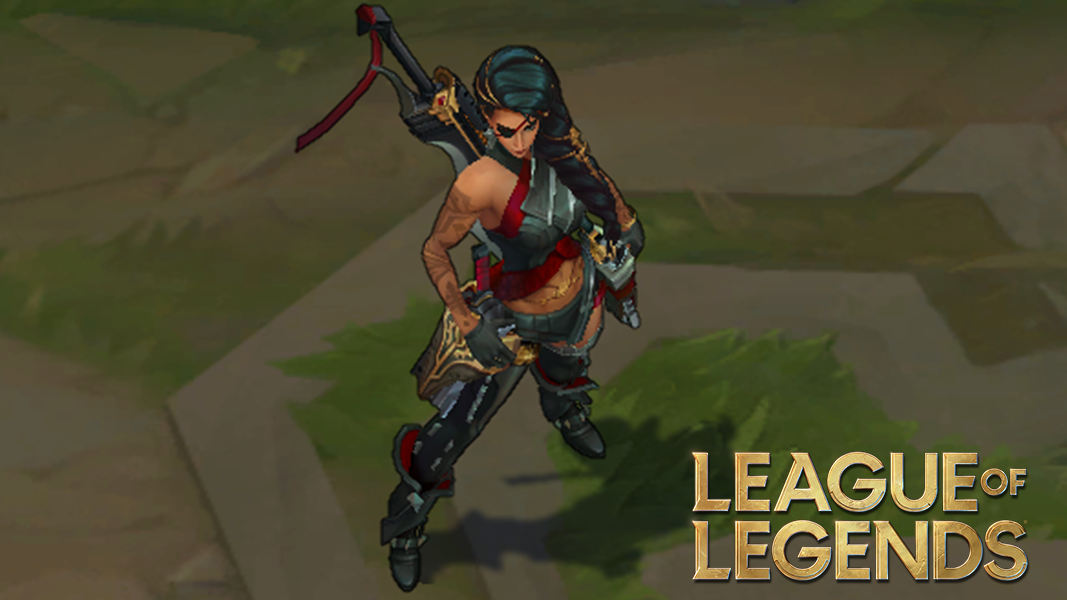 Samira from league of legends next to her logo