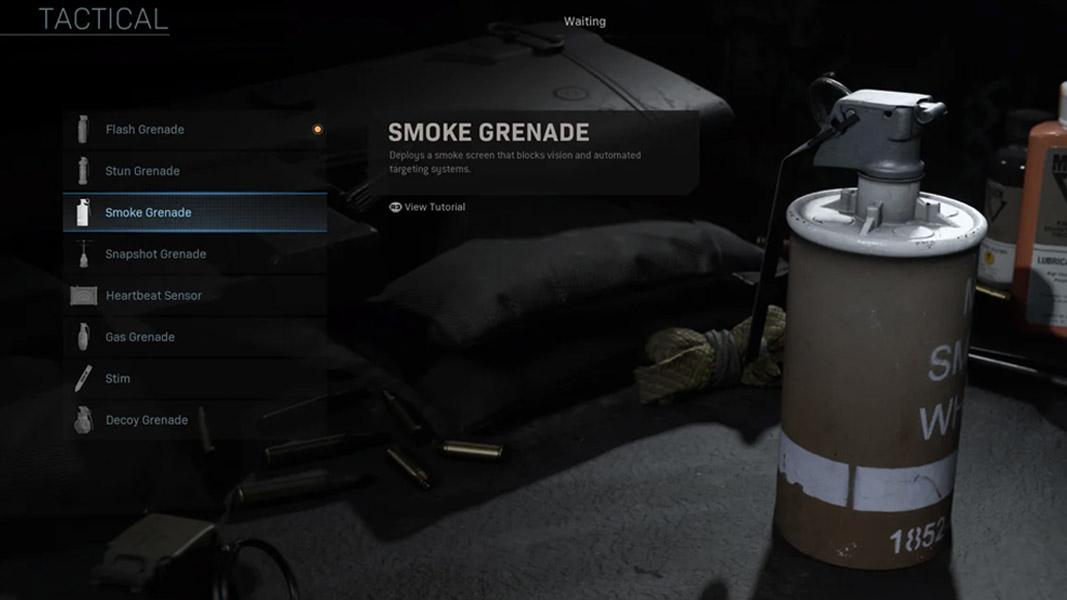 A smoke grenade in Warzone's loadout menus