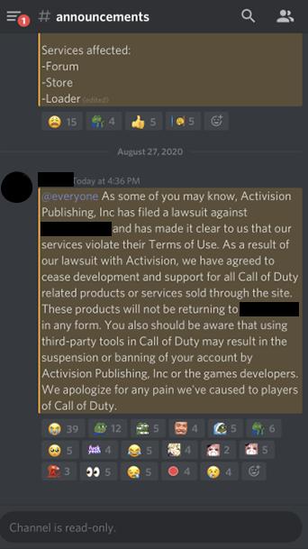 Screenshot of discord chat