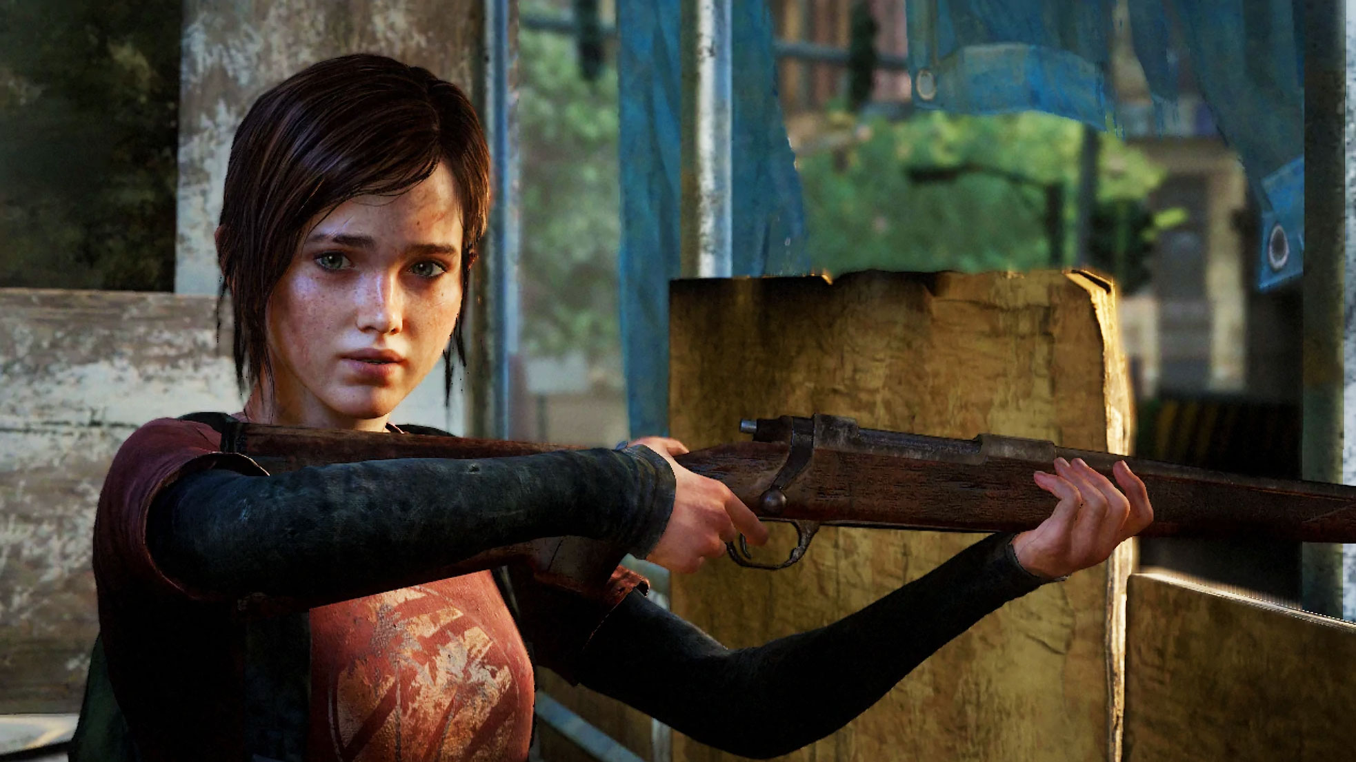 ellie holding a gun in the last of us