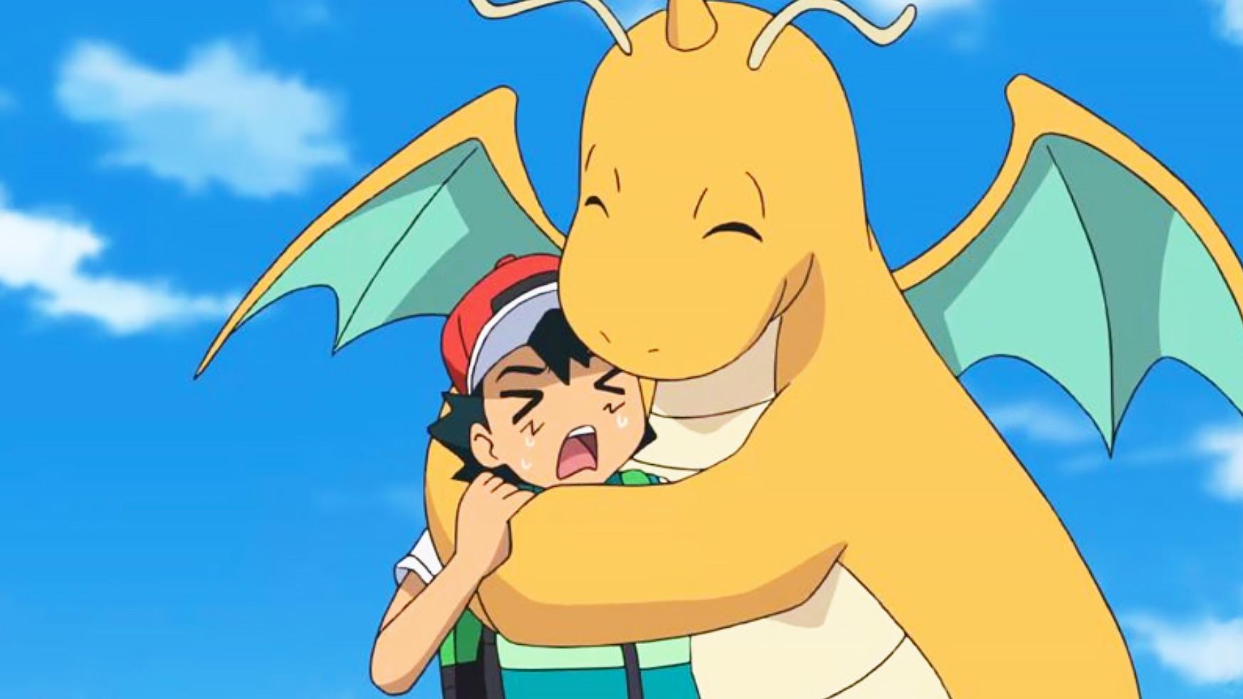 dragonite hugging ash