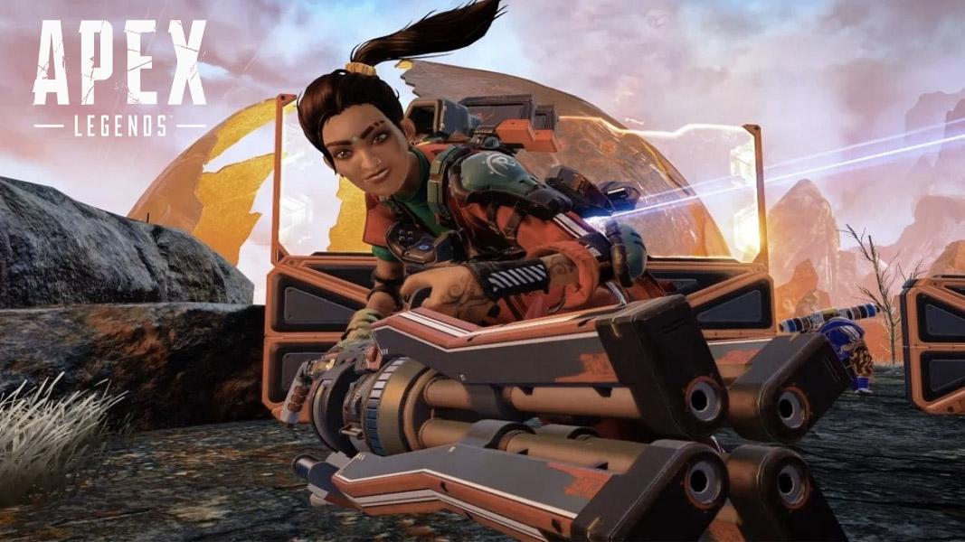 Rampart with her minigun in Apex Legends