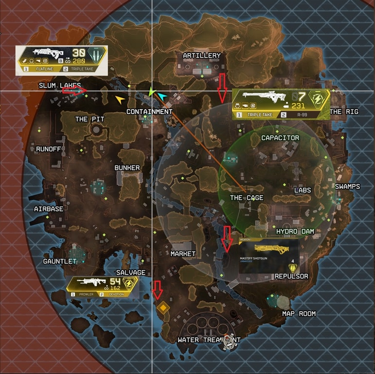 Map of the vaults and gold weapons in Apex Legends