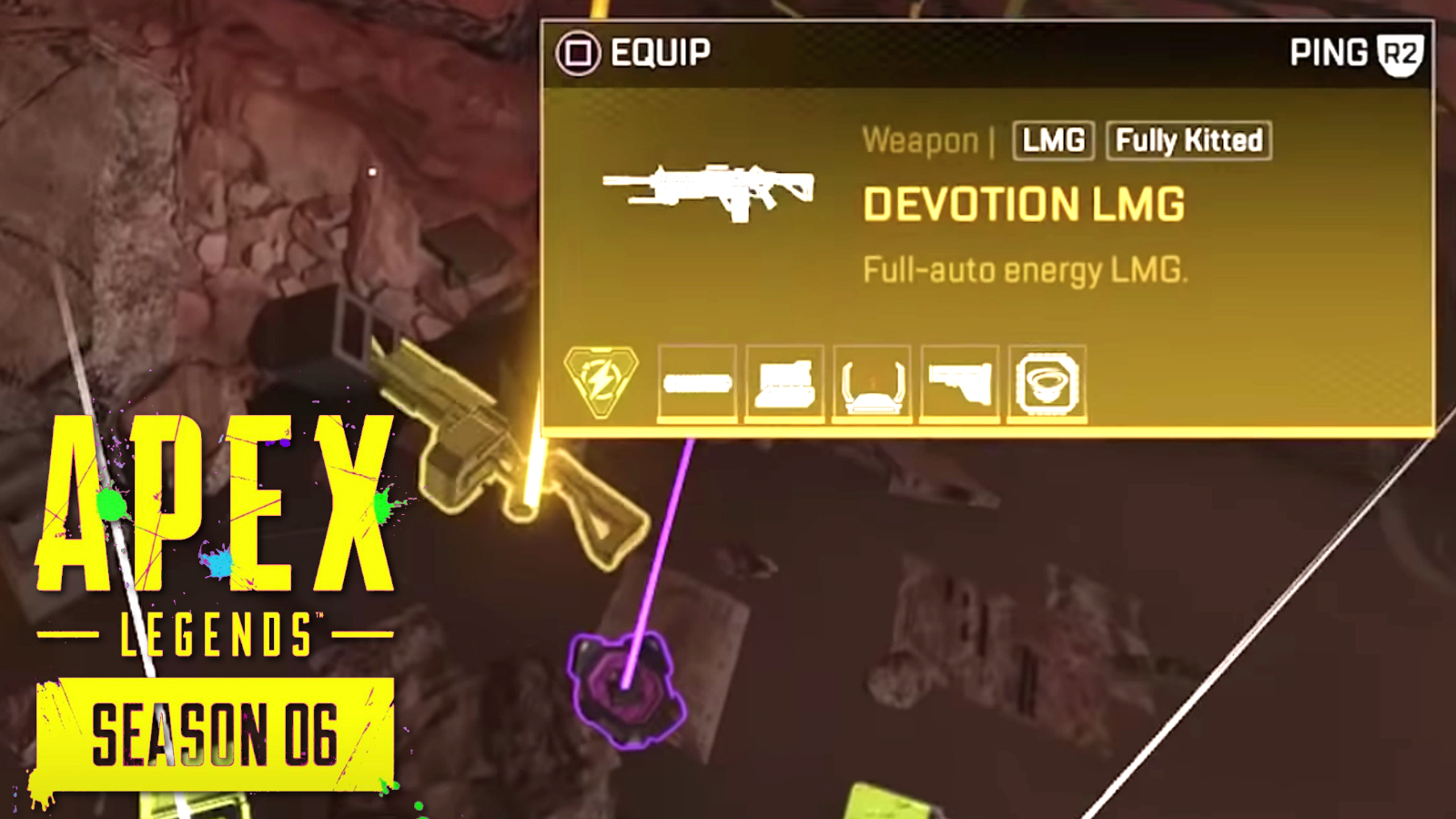 A gold devotion LMG in Apex Legends