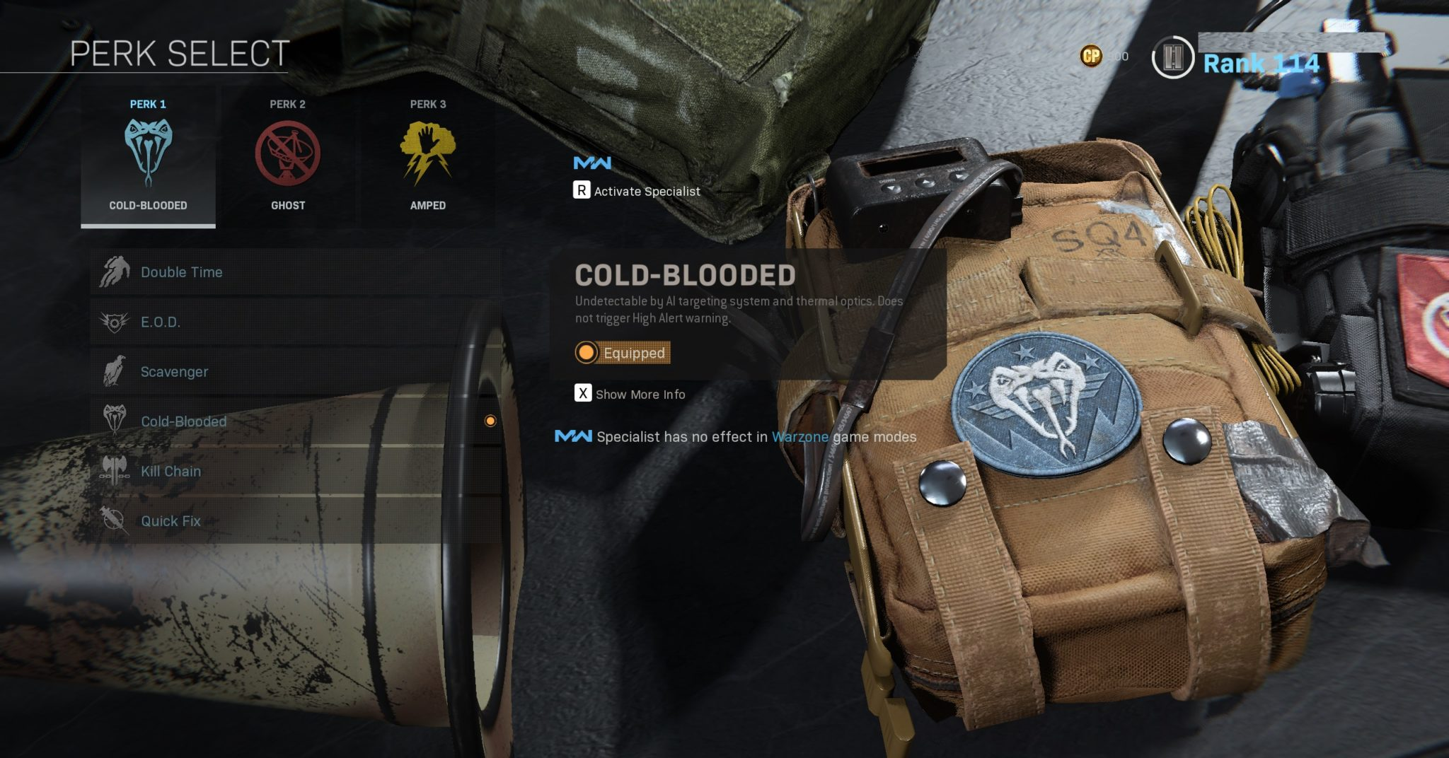Cold-Blooded perk