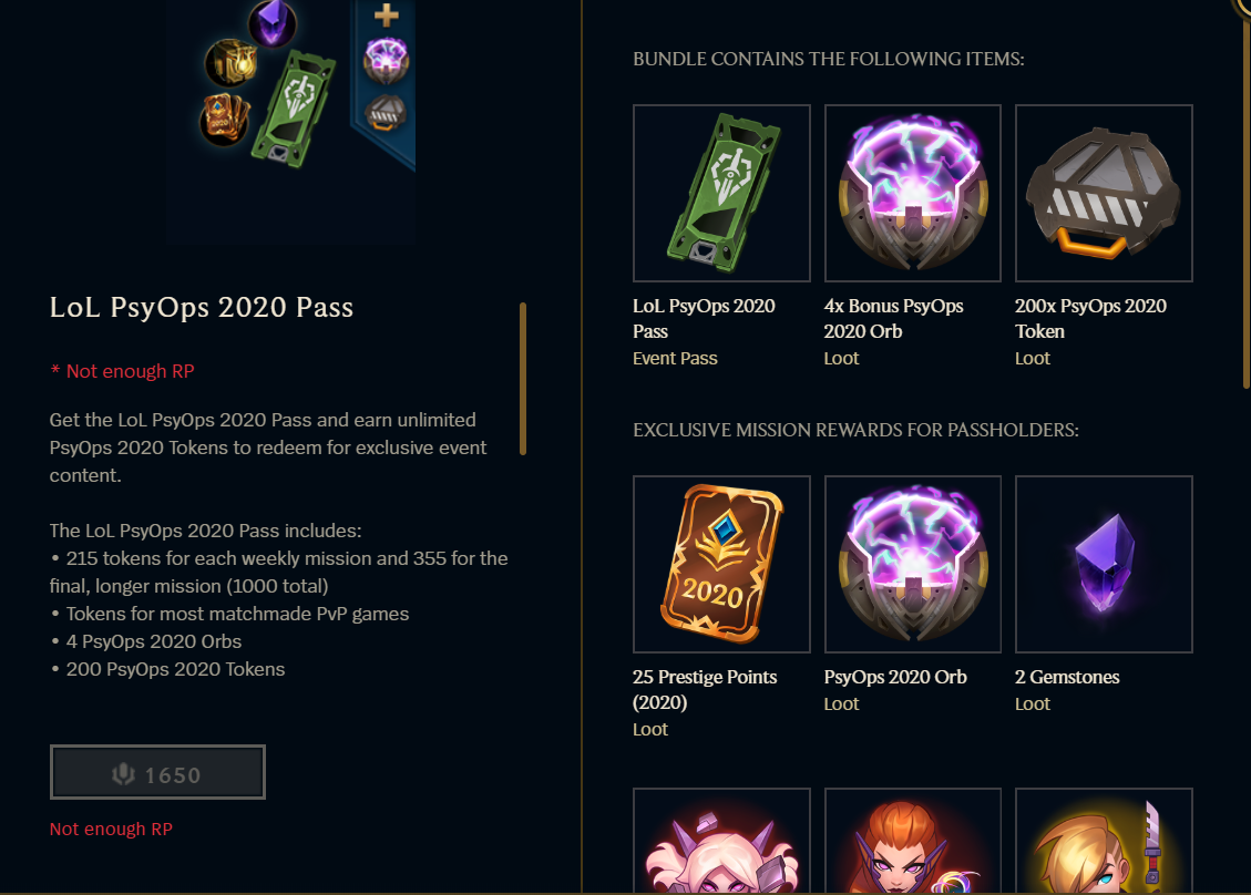 PsyOps Event Pass in League of Legends