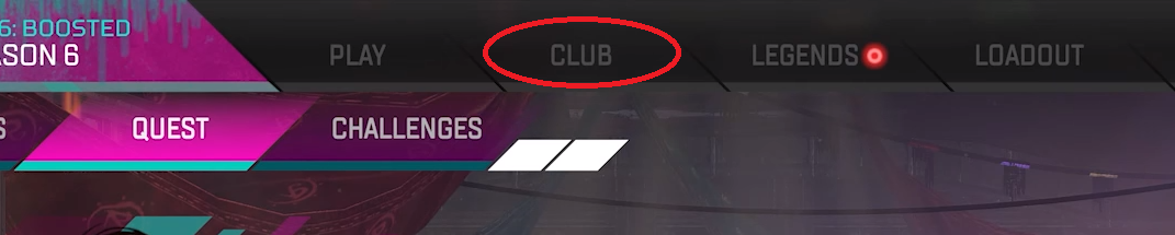 Clubs tab in Apex Legends