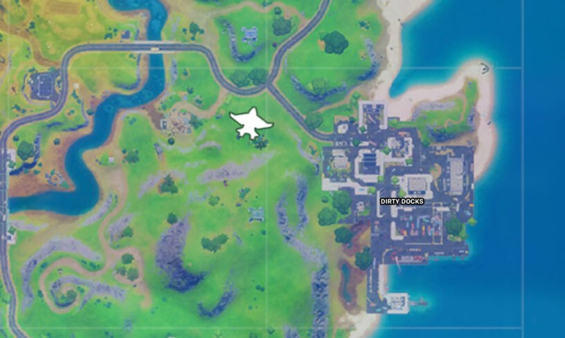 Fortnite map with quinjet icon