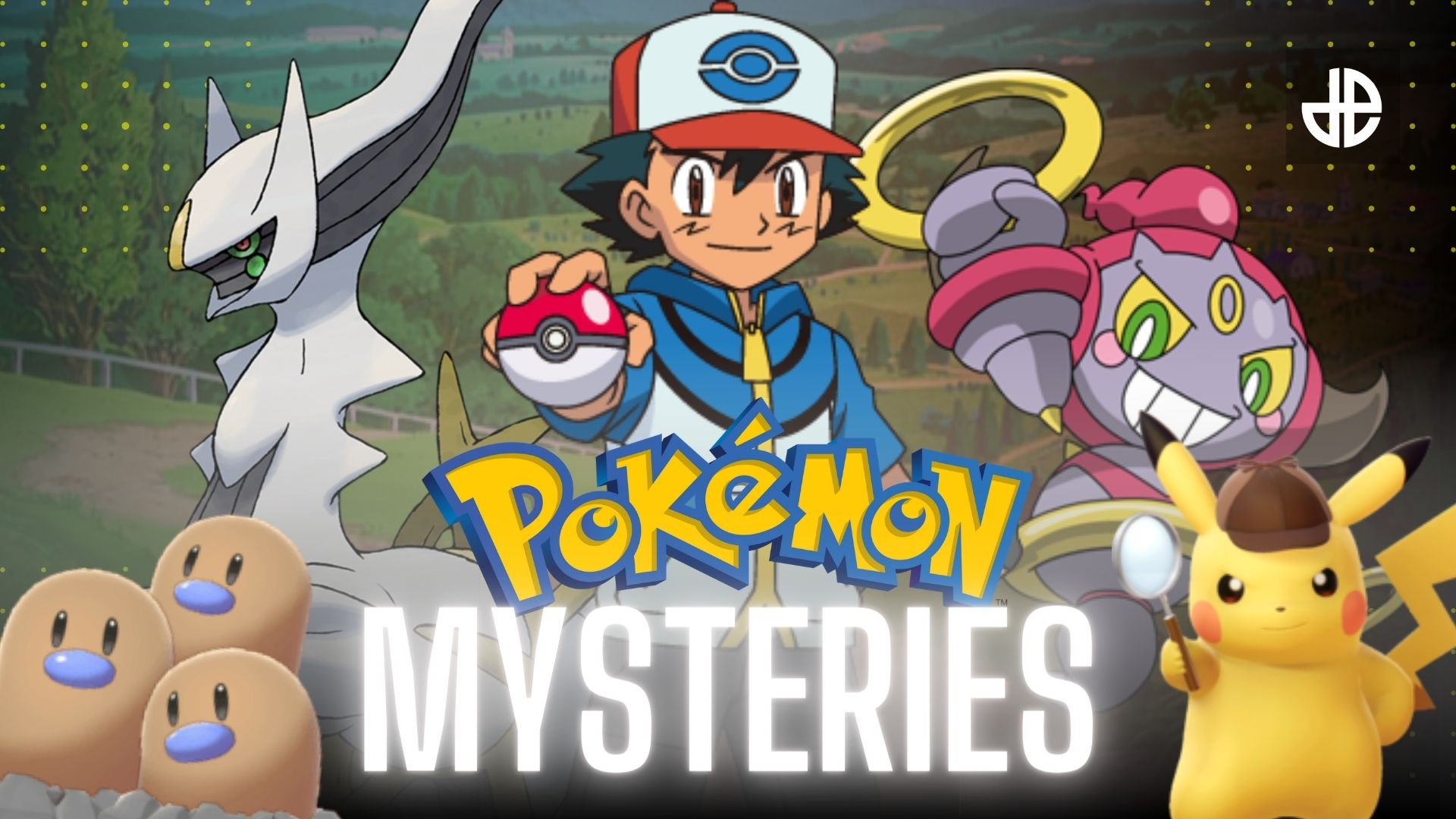 Pokemon mysteries image with Ash, Pikachu, Dugtrio, and more