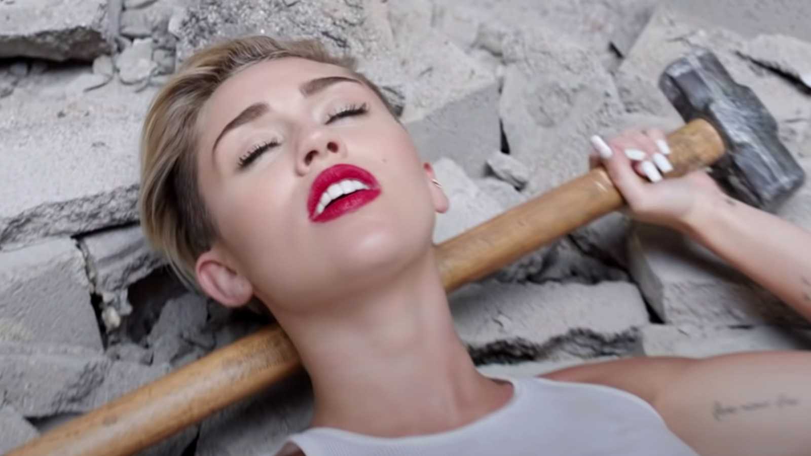 Miley Cyrus in her video for Wrecking Ball