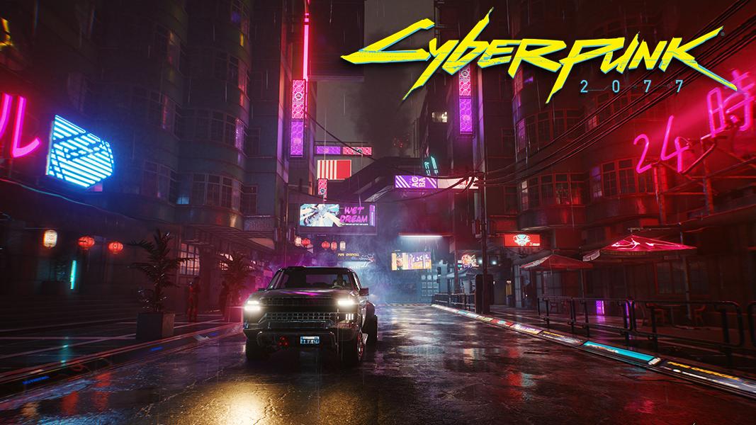 Cyberpunk 2077 street with car driving
