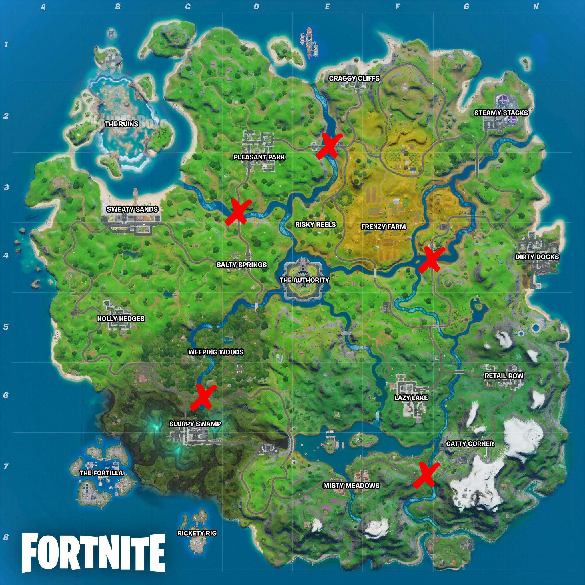 All steel bridge locations marked on fortnite chapter 2 map
