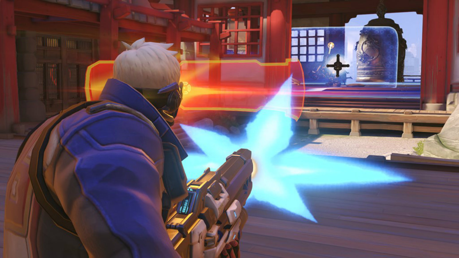 Soldier 76 attacking an enemy barrier