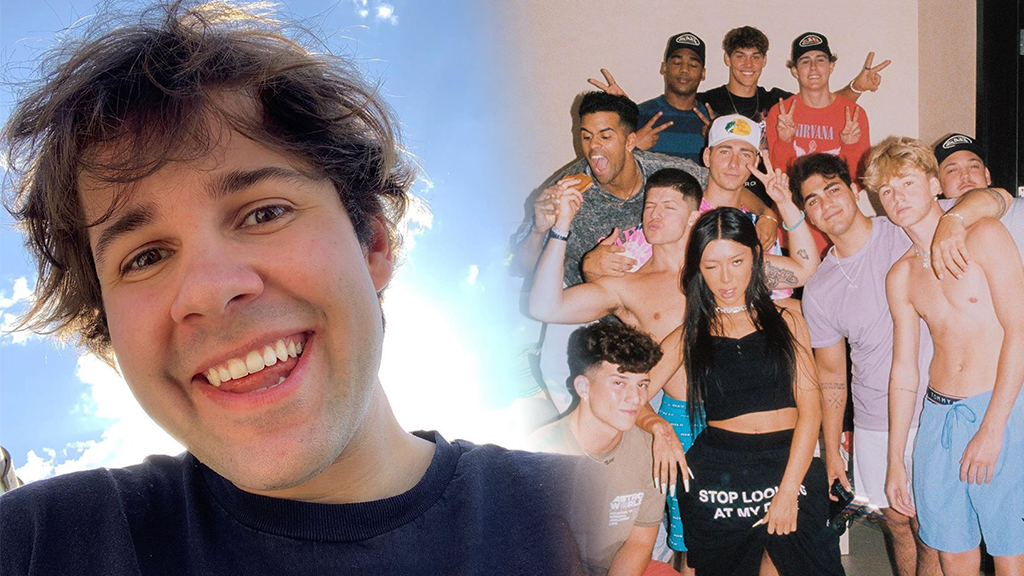 David Dobrik side by side with Hype House members