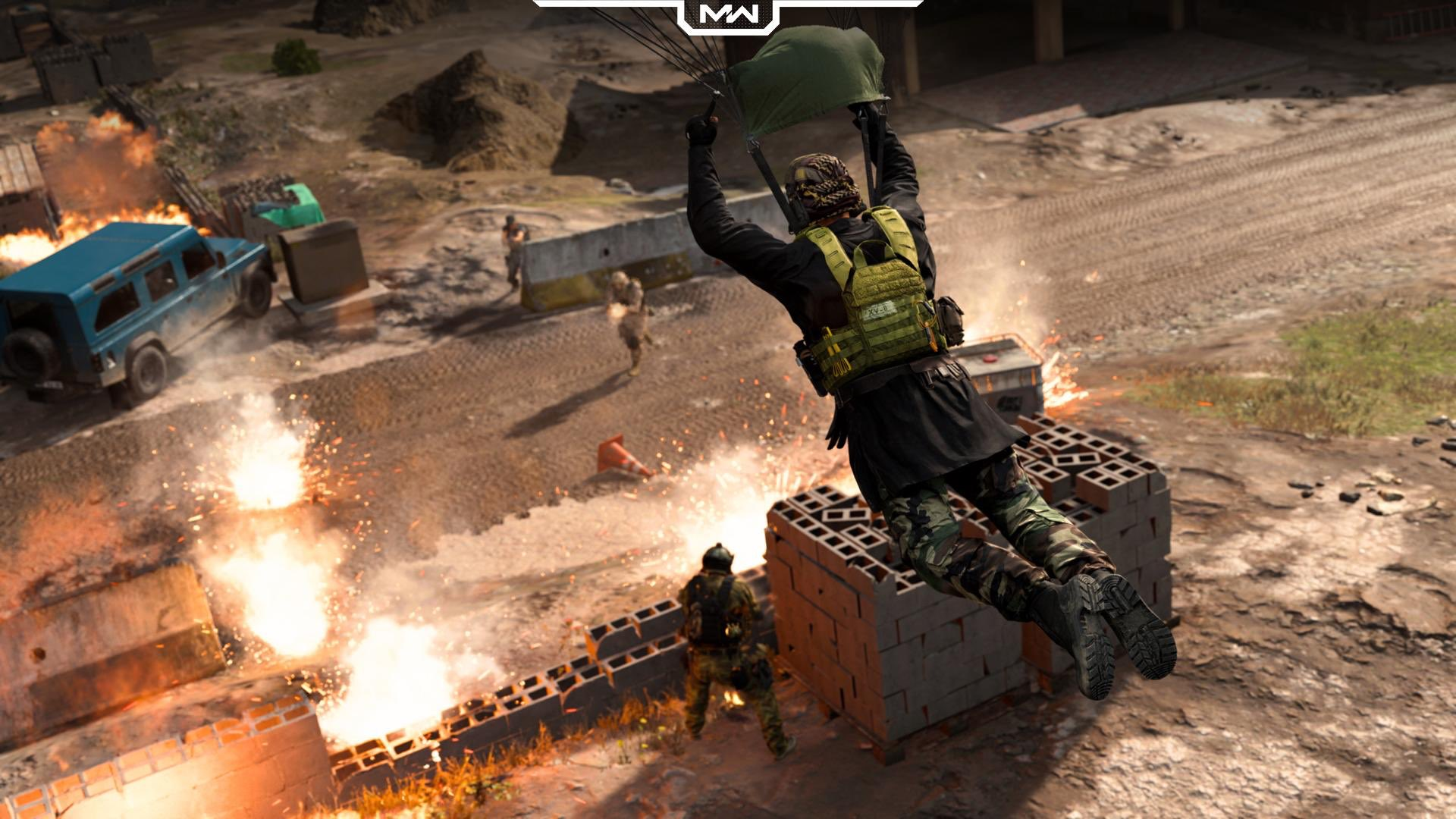 Warzone player parachuting into a fight