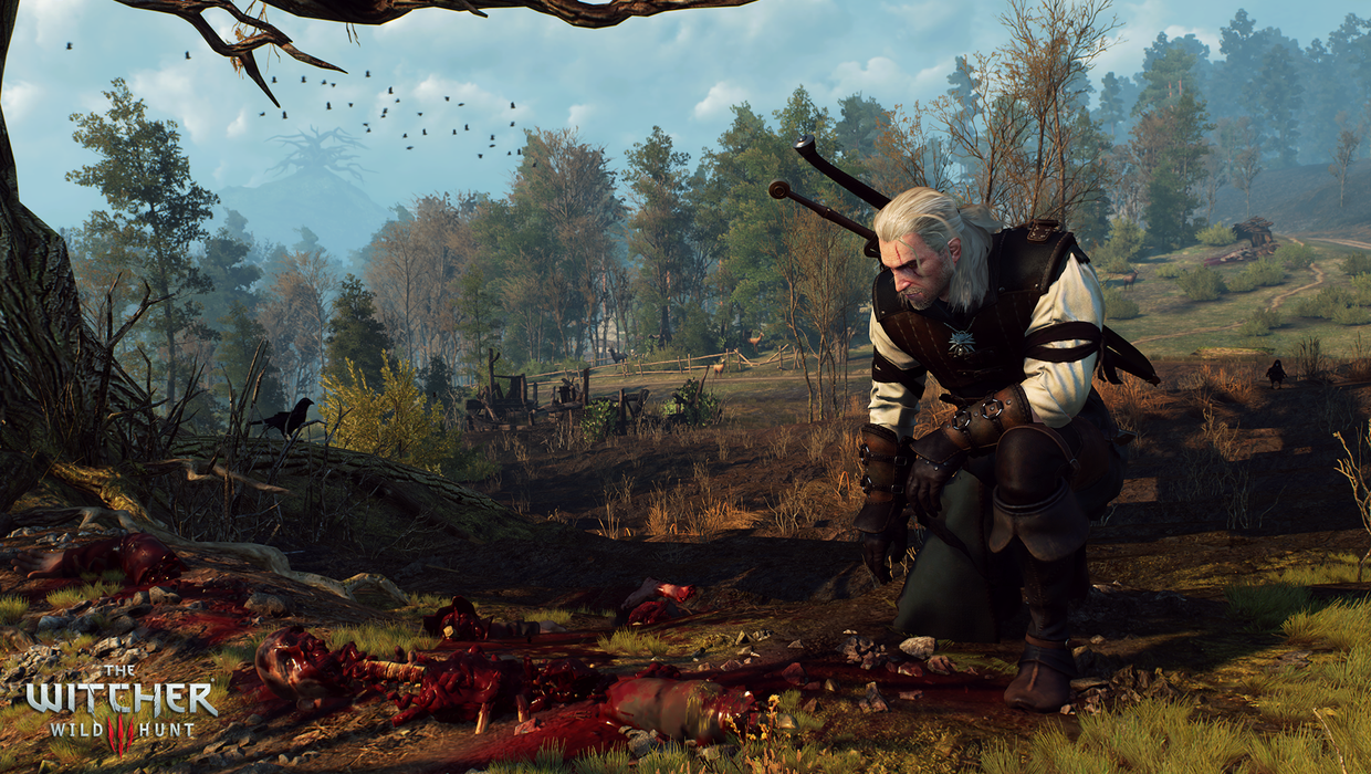 geralt kneeling at corpse in witcher 3