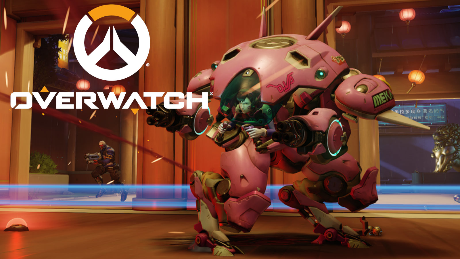 Dva attacks with Soldier on Lijang tower