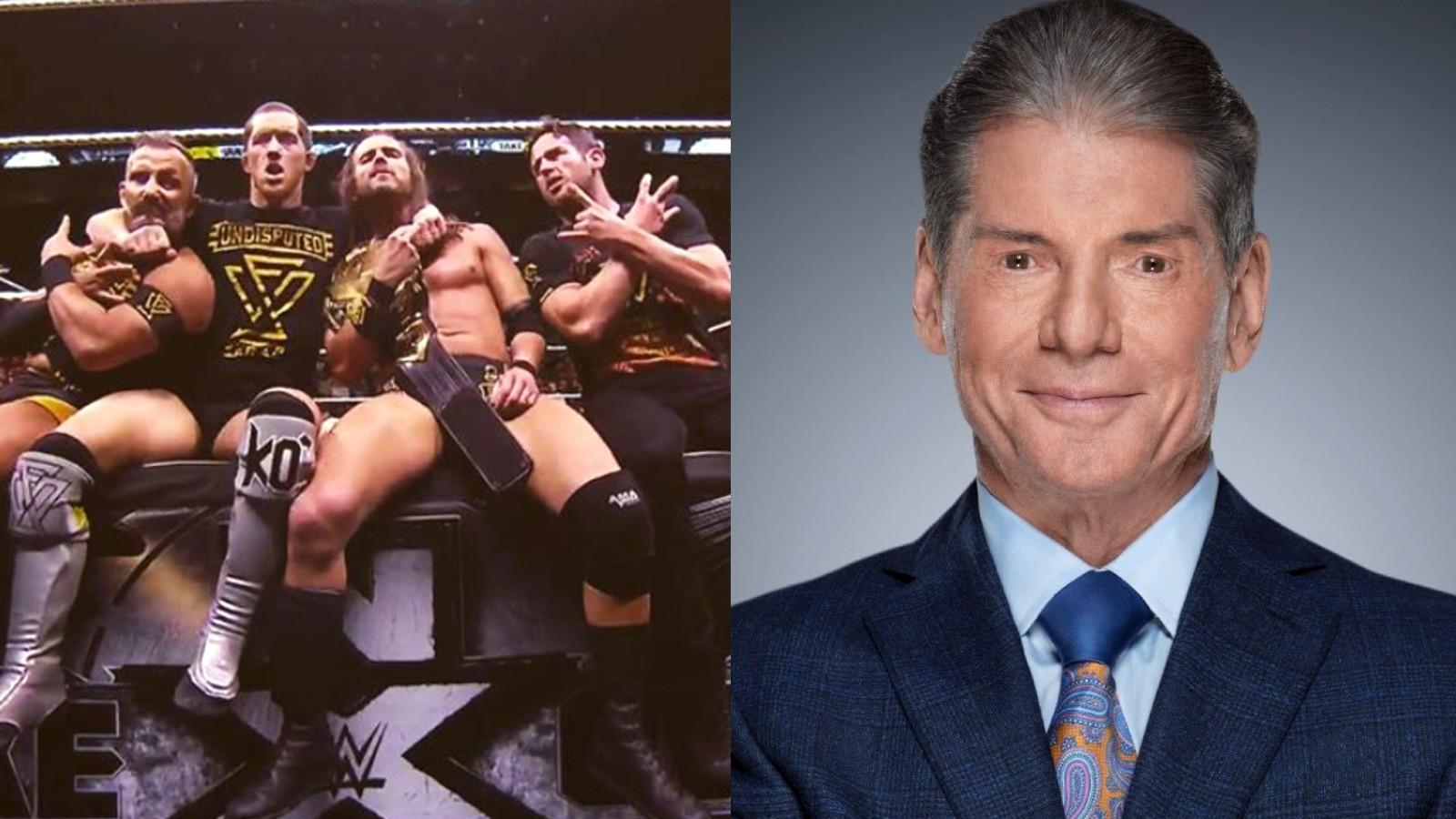 Adam Cole with other wrestlers, next to WWE CEO Vince McMahon