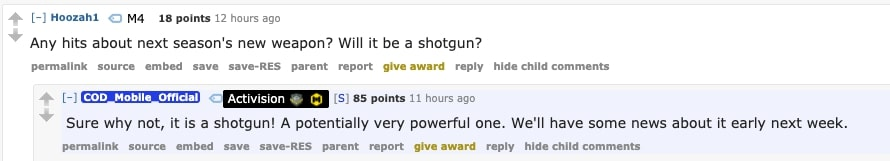 Screenshot of a Reddit comment from Call Of Duty Mobile