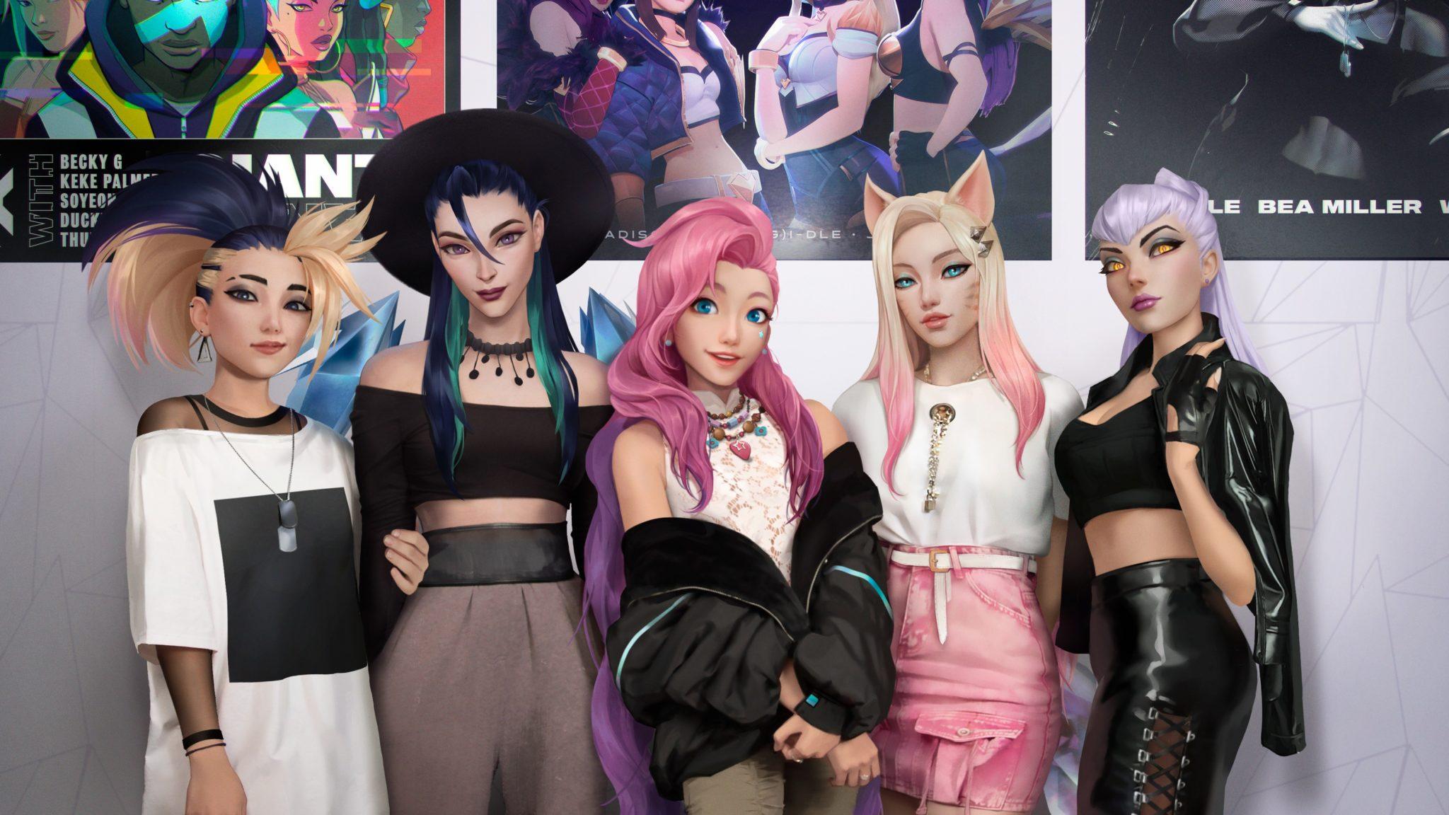 K/DA lineup of Akali, Kai'Sa, Seraphine, Ahri, and Evelynn.