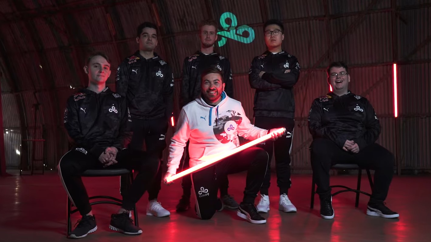 Cloud9's 2020 CS:GO roster of JT, oSee, motm, floppy, and Sonic.