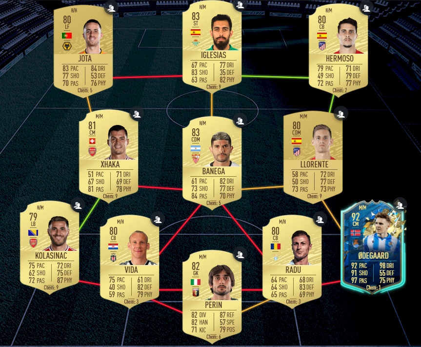 Here's a cheap solution for Arthur's 83-rated SBC puzzle.