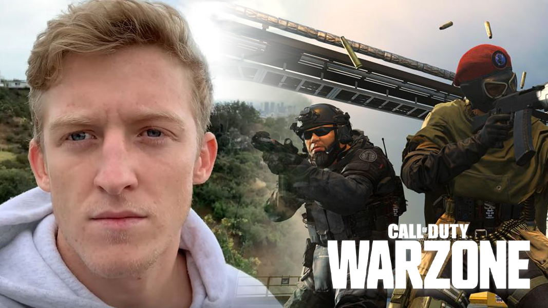 Tfue next to characters firing guns in Call of Duty: Warzone