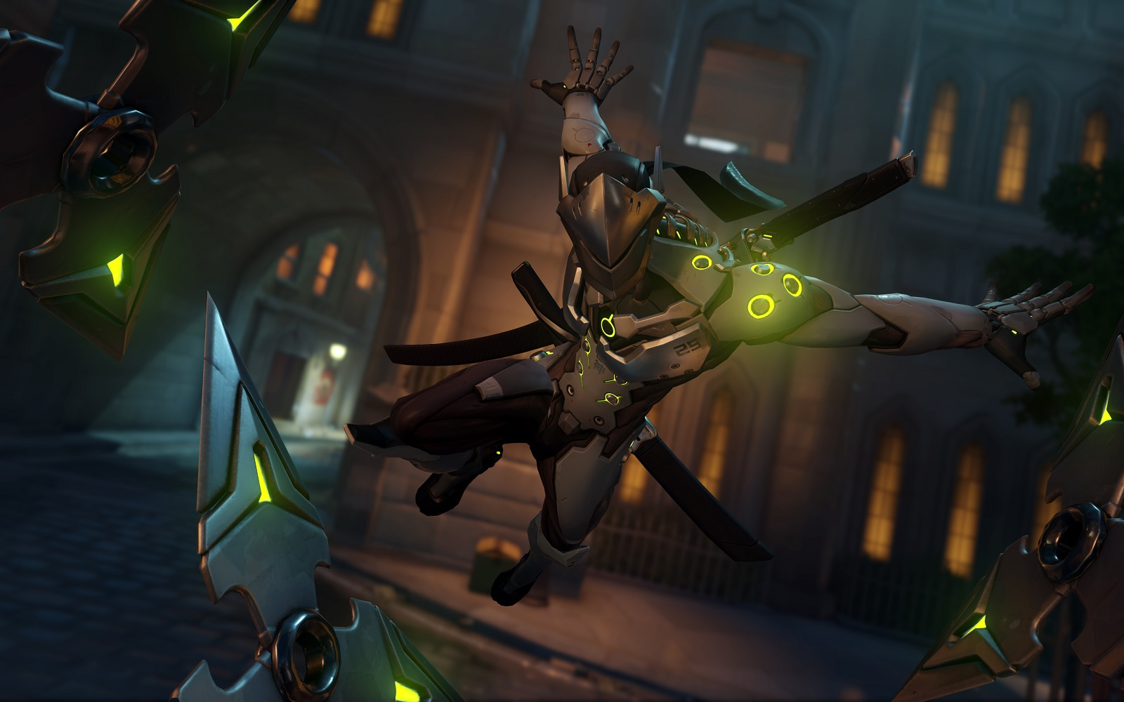 Genji throwing shurikens in Overwatch on King's Row
