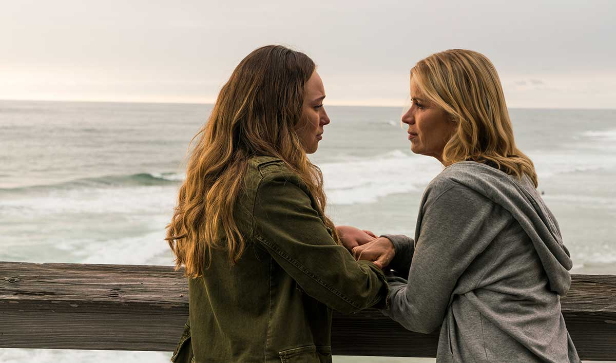 Madison Clark and Alicia from fear the walking dead on a pier