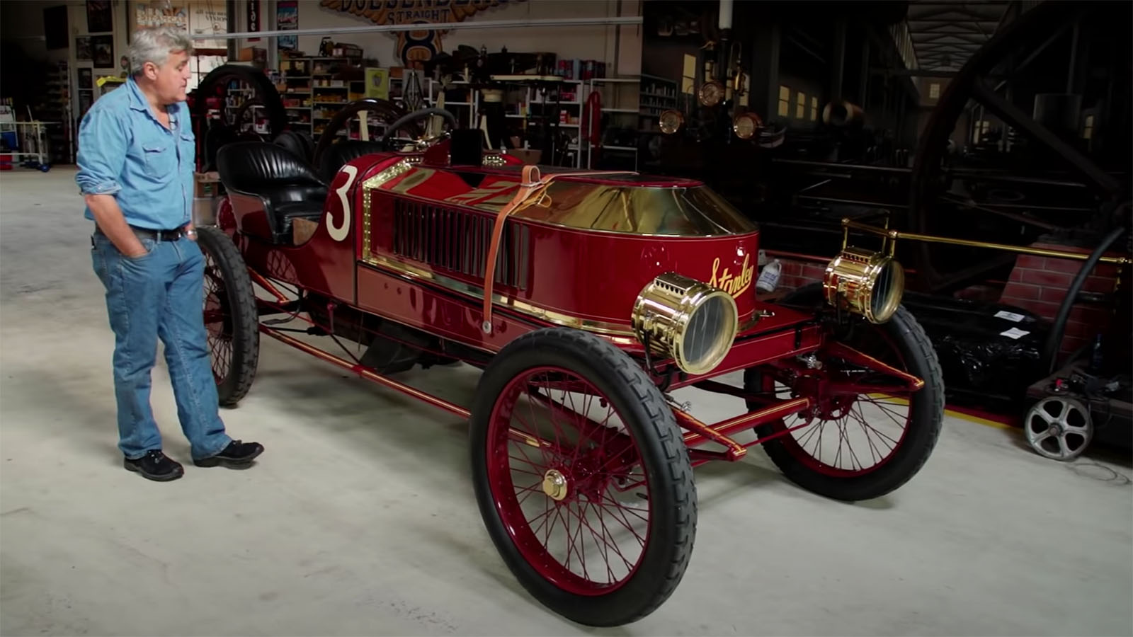 Jay Leno with 1906 Stanley Steamer
