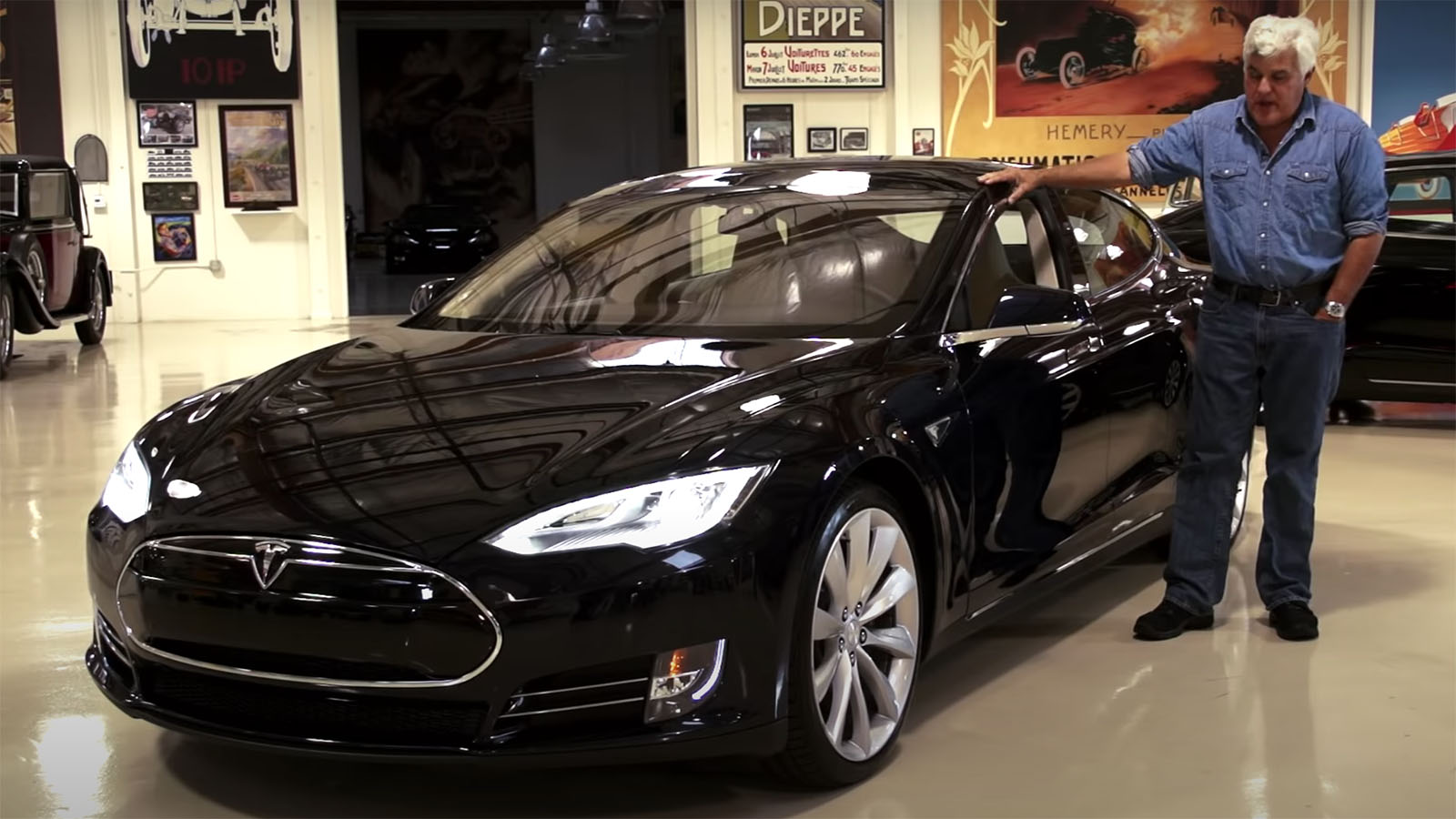Jay Leno with Tesla Model S