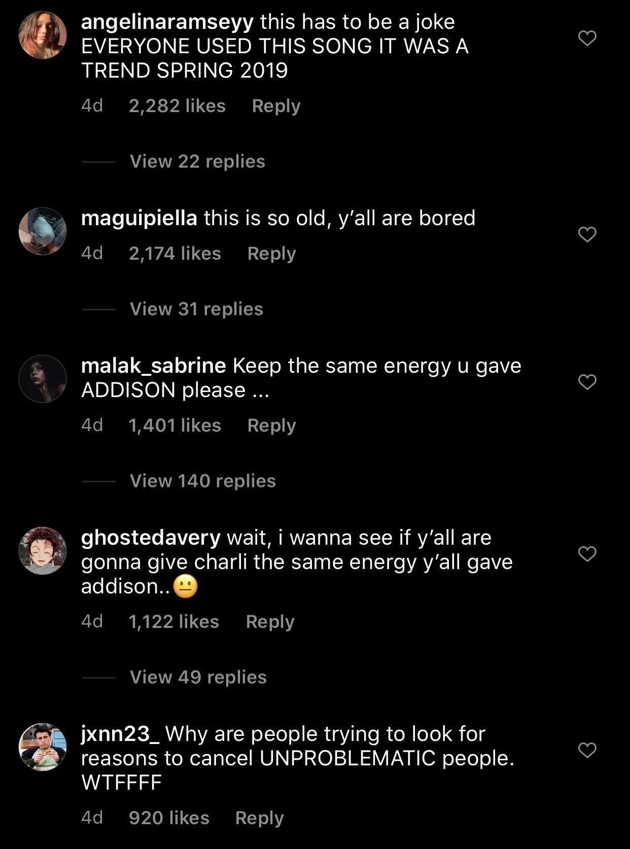Commenters call out the Instagram page that shared Charli's older video.