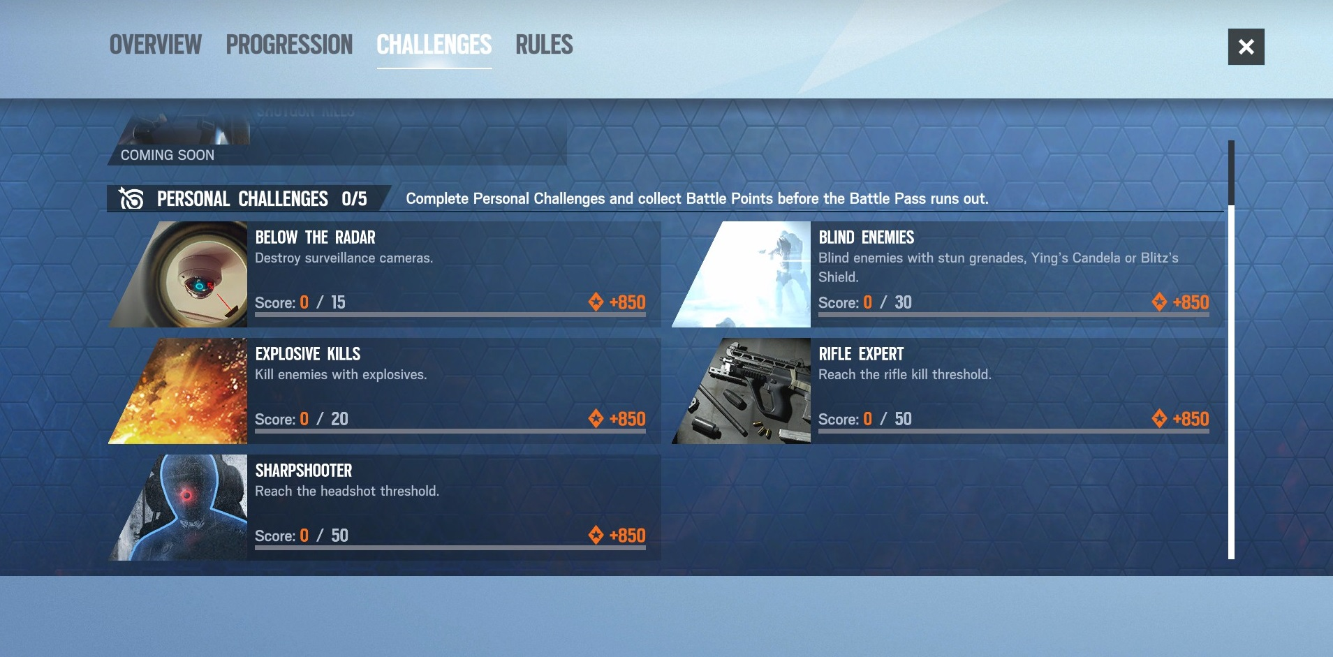Rainbow Six Shadow Legacy battle pass challenges