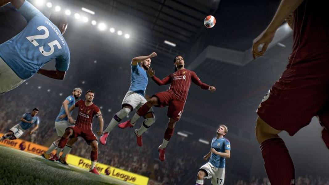 Virgil Van Dijk going up for a header in FIFA