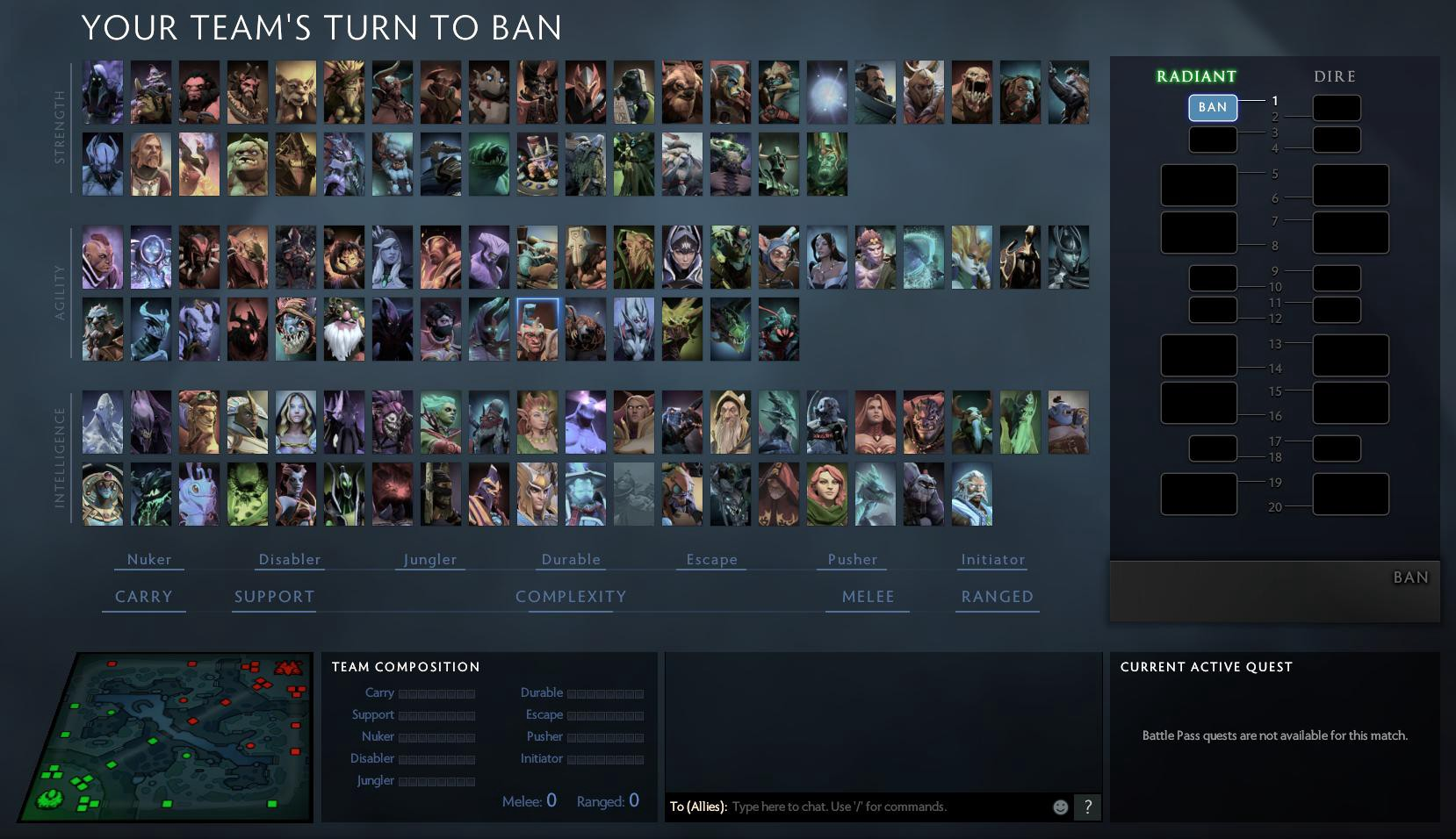 Drafting Heroes in Dota 2.