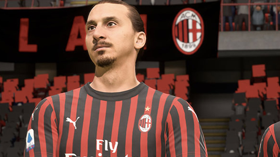 Zlatan Ibrahimovic in an AC Milan kit in FIFA