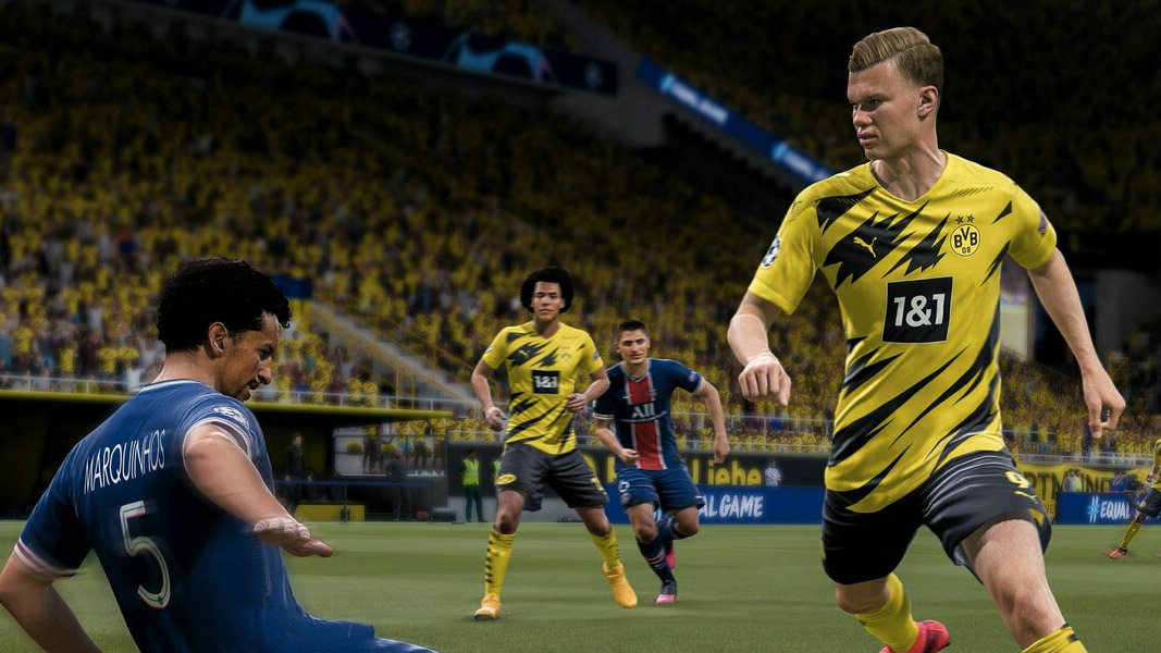 Erling Haaland evading a tackle in FIFA 21