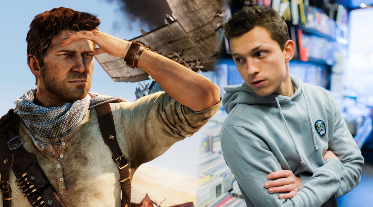 Uncharted Nathan Drake and Tom Holland