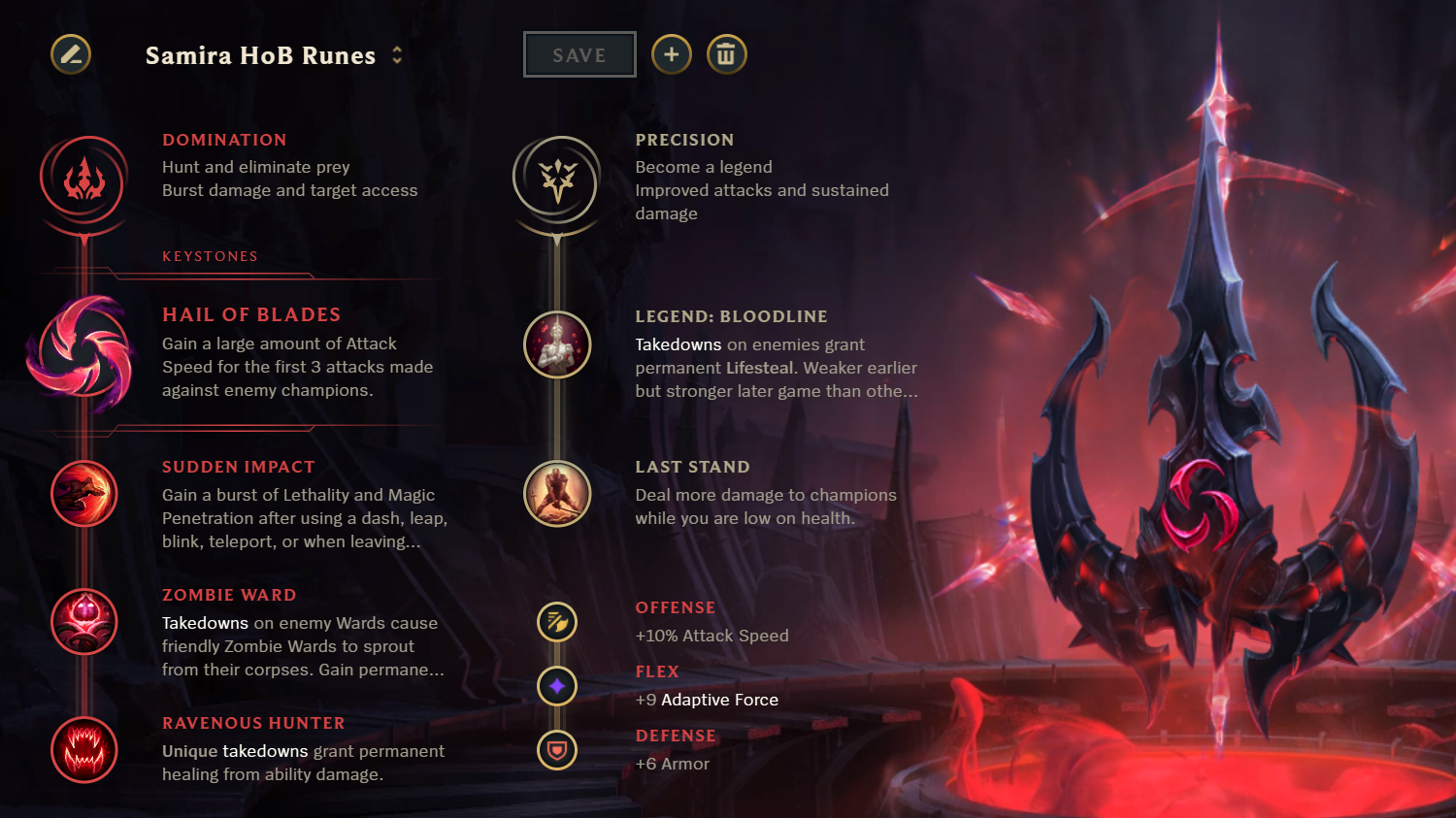 Hail of Blades rune page for Samira in LoL