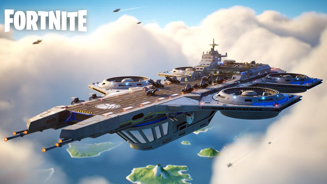 The helicarrier in Fortnite