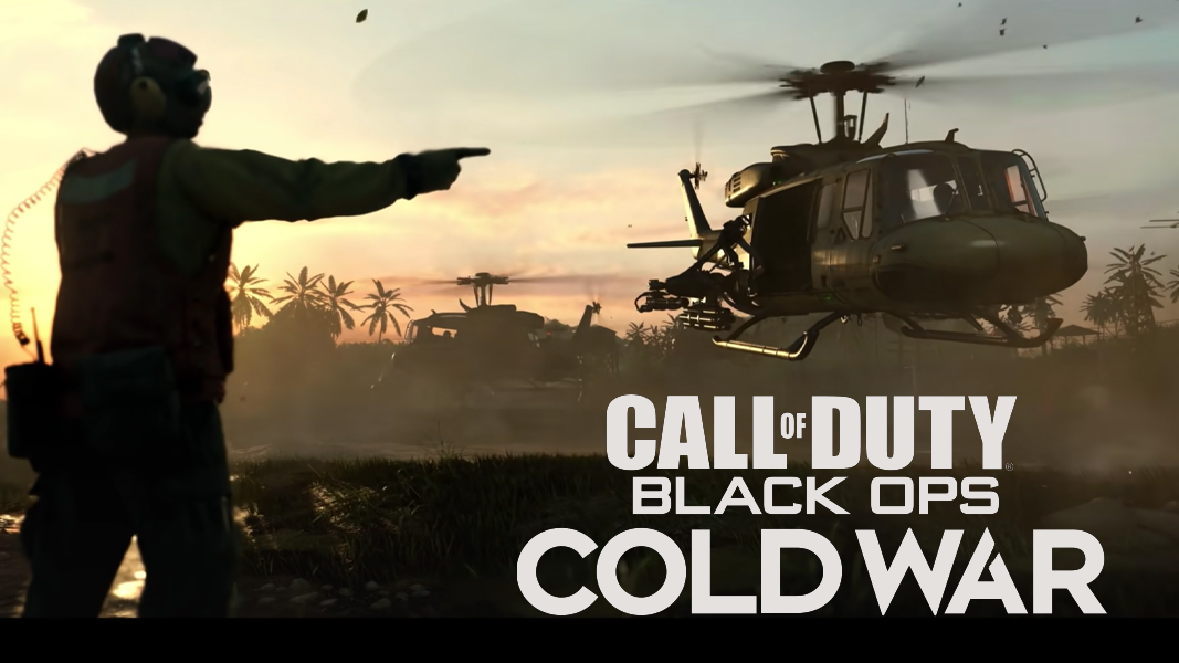 Black Ops Cold War character waving a helicopter down