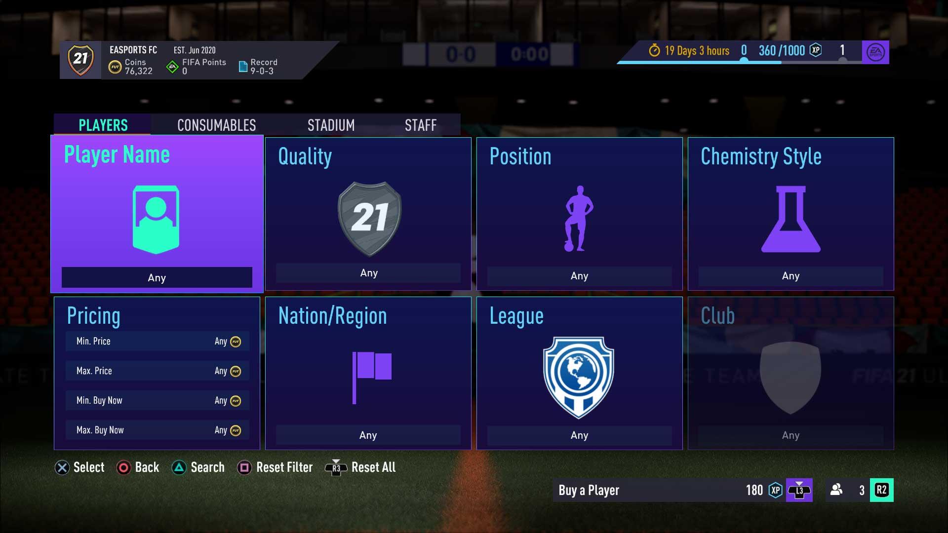 FIFA 21 Ultimate Team menus