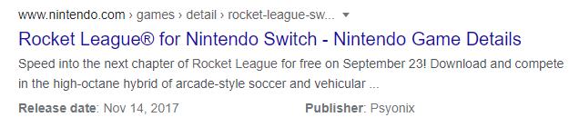 Rocket League free-to-play Nintendo shop listing