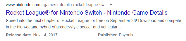 Rocket League free-to-play Nintendo shop listing