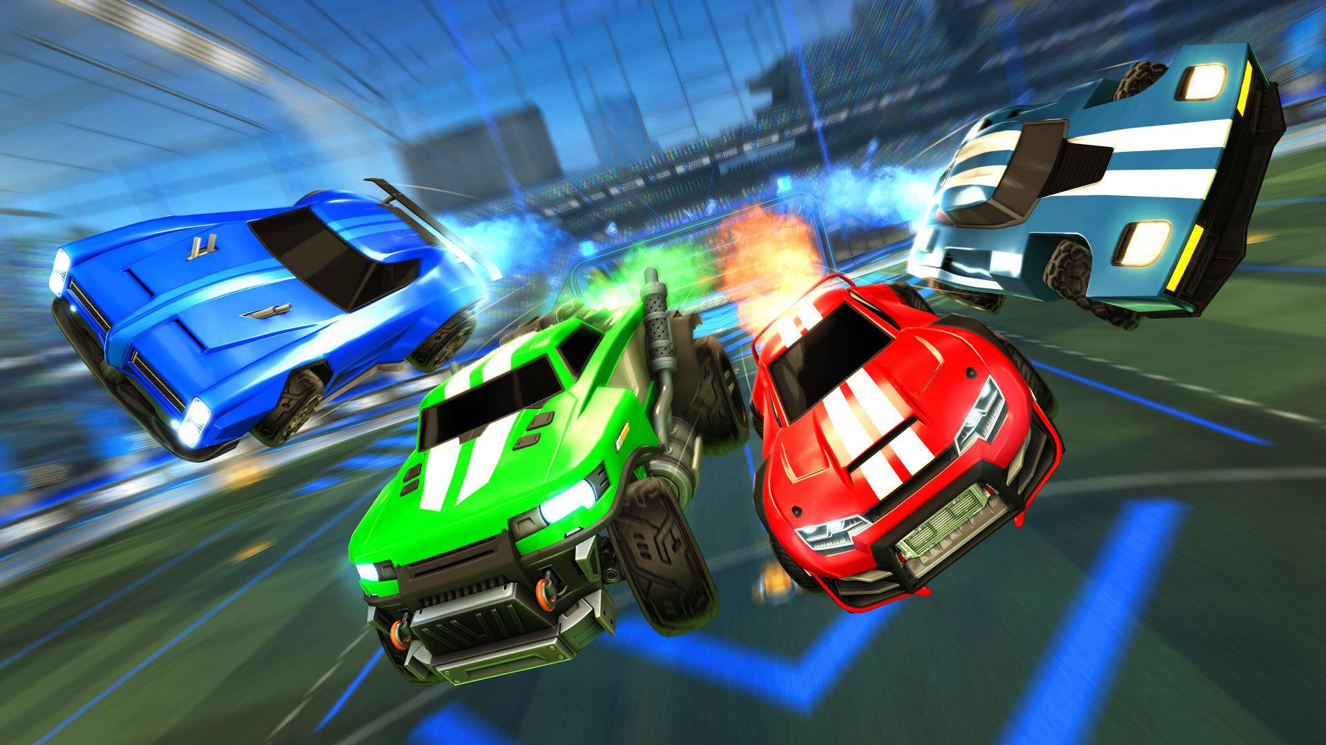 Rocket League cars flying