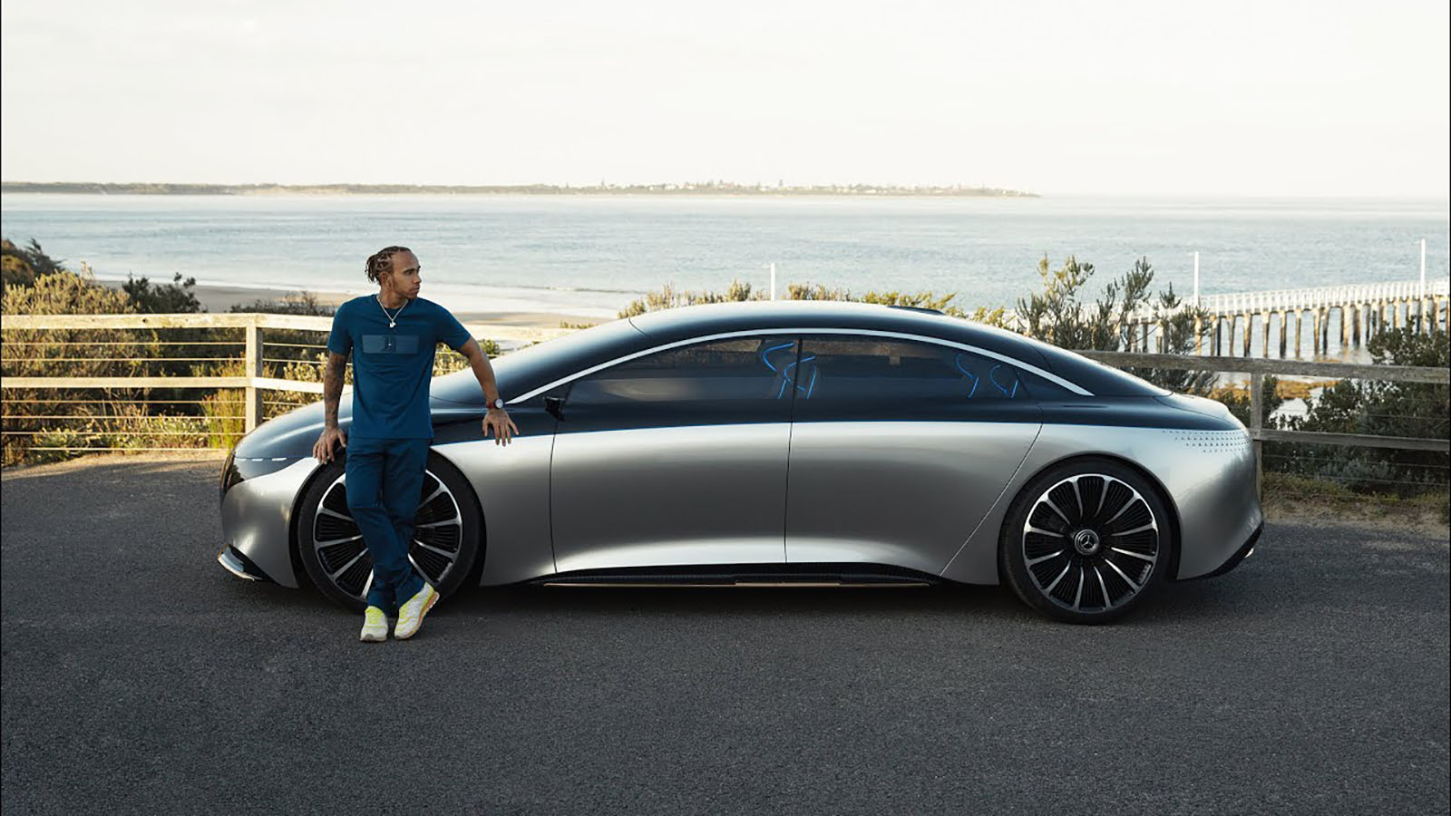 Lewis Hamilton with Mercedes Vision EQS